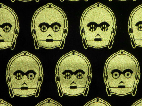 FAT QUARTER STAR WARS FABRIC C3PO ROBOT METALLIC CAMELOT 100/% QUILTING COTTON FQ