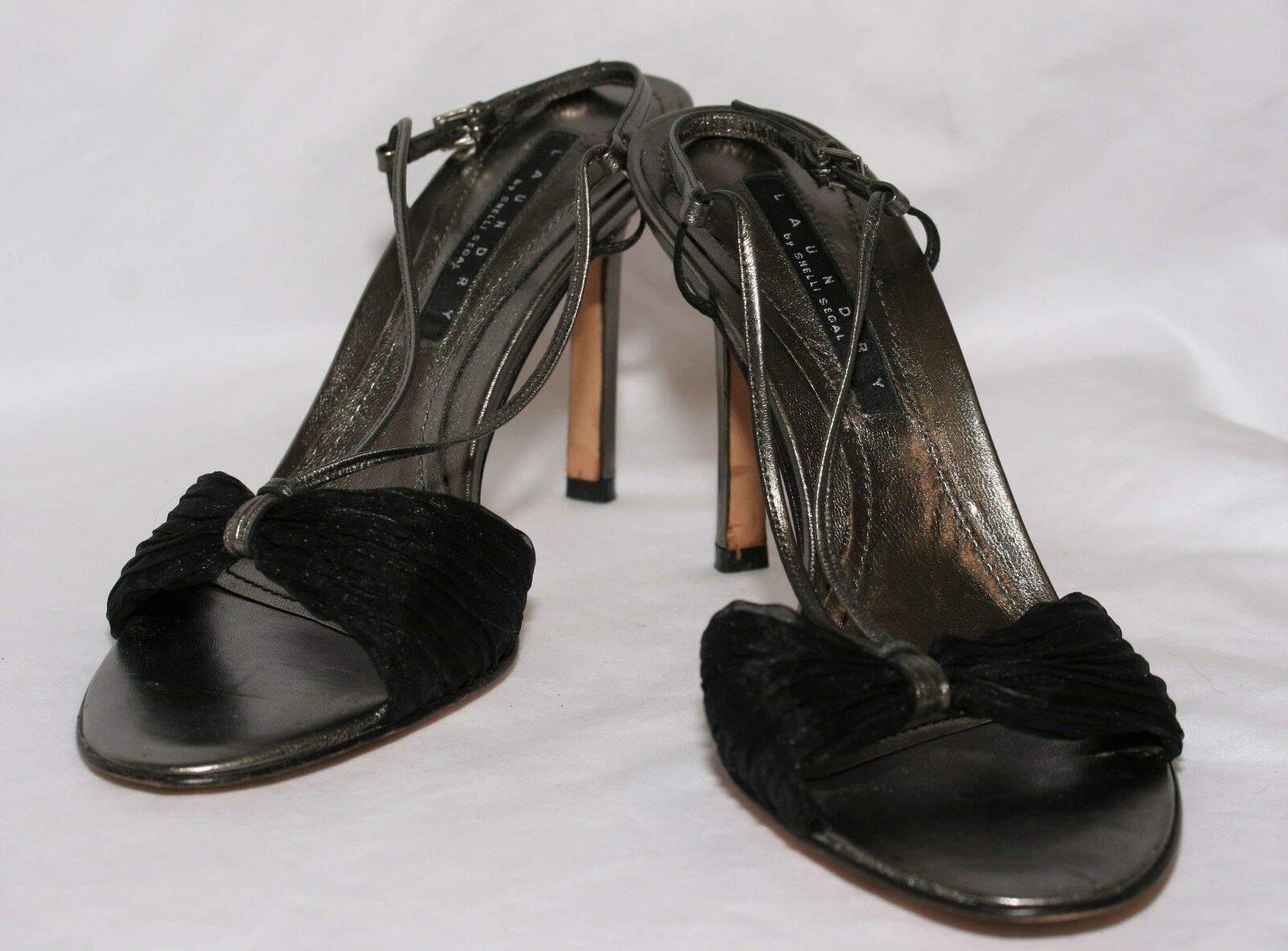 Laundry By Shelli Segal Womens 8.5 M Open Toe High Pewter Heel Dress Shoes Black Pewter High 57a7d5