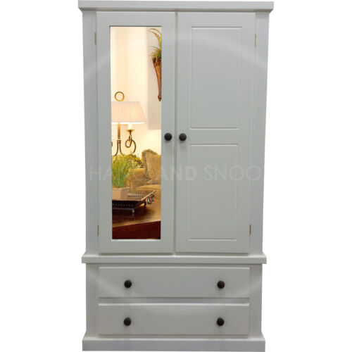 HANDMADE DEWSBURY MIRRORED DOOR WARDROBE IVORY DARK OAK ASSEMBLED