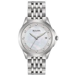 Bulova-Women-039-s-96P174-Quartz-Diamond-Accents-Silver-Tone-Bracelet-36mm-Watch