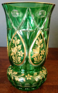 MOSER-Antique-Emerald-Green-Cut-To-Clear-Intaglio-Gold-Gilded-1900-039-s-Vase-Nice