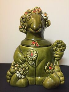 Vintage-California-Originals-Green-Turtle-amp-Flowers-Cookie-Jar-842-W-Paint