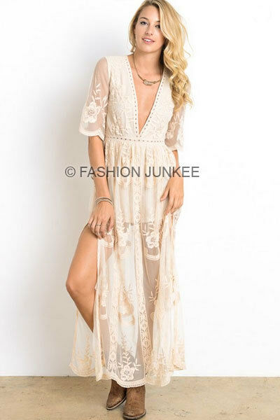 OFF WHITE IVORY LACE SHEER MAXI Dress Long Full Length Low Cut Plunging S M L