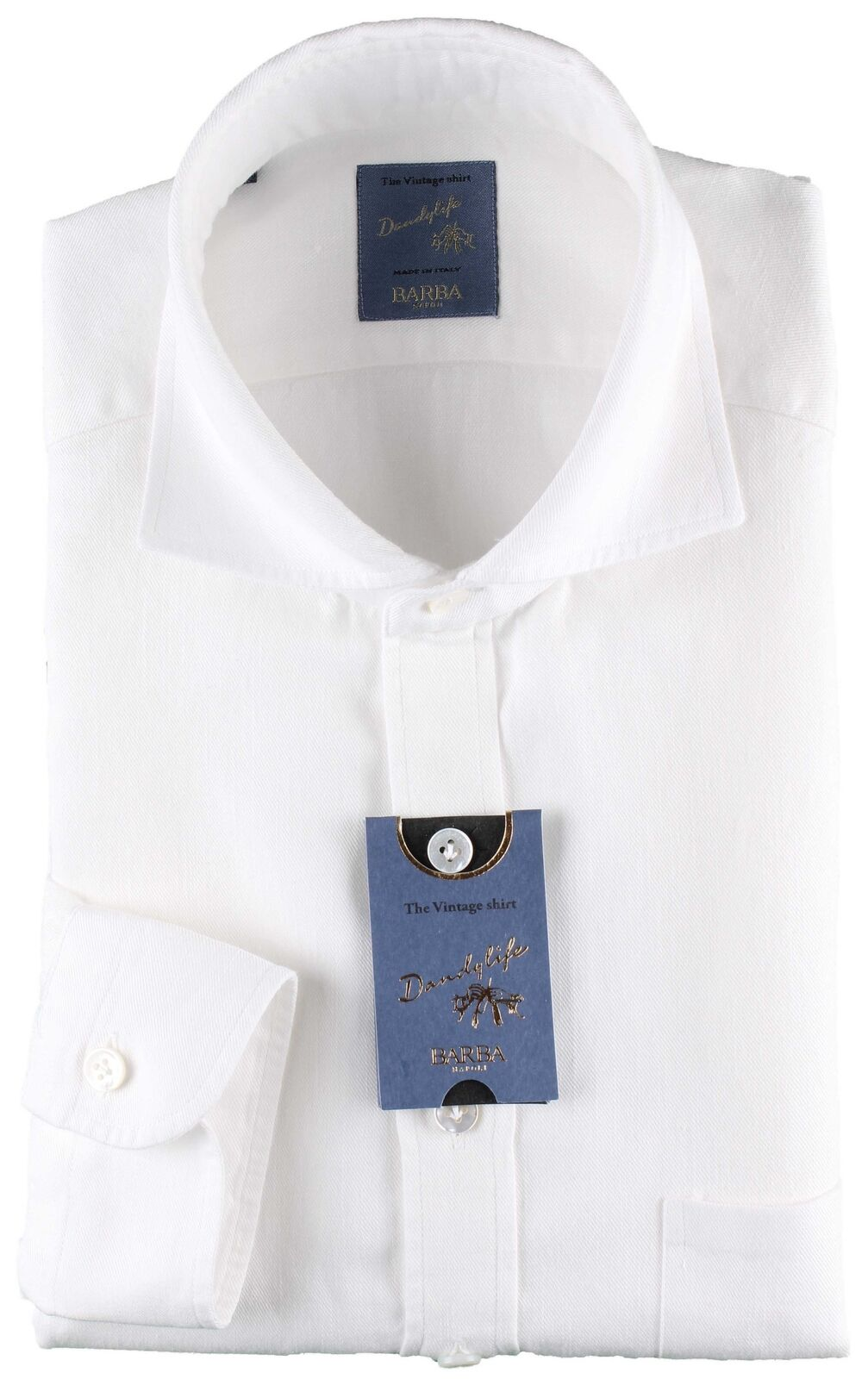 NWT BARBA NAPOLI POLO SHIRT dandy life 1 2 button Weiß handmade 38 15