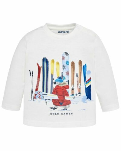 Mayoral Baby Jungen Langarmshirt Cold Games in sahne Longsleeve T-Shirt Skier
