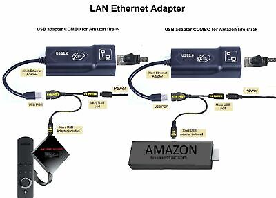 Reduce Internet Streaming Problems Ethernet Adapter For AMAZON Fire Stick USB