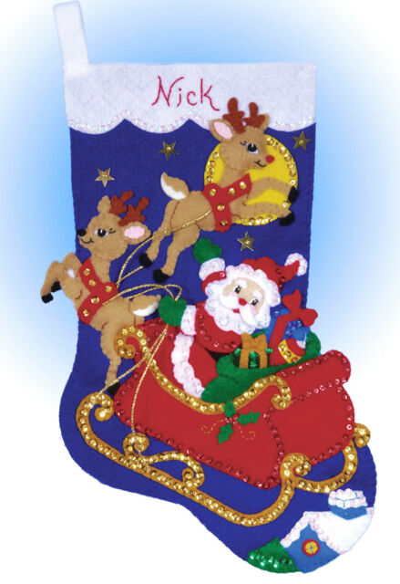 Felt Embroidery Kit ~ Design Works Moonlit Ride Christmas Stocking #DW5089
