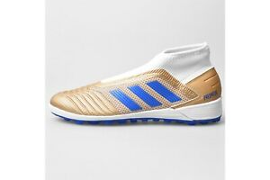 Details about adidas Mens Predator 19.3 Laceless Astro Turf Trainers Gold Blue White Shoes
