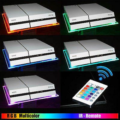RGB LED USB Design Acrylglas Plexiglas Ständer PS4 Playstation 4 + Fernbedienung