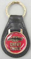 Chevrolet Chevy Truck Black Leather Goldtone Keyring 1980 1981 1982 1983 1984