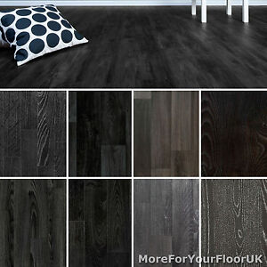 Black Wood Plank Vinyl Flooring Non Slip Vinyl Flooring Lino Kitchen Bathroom Ebay