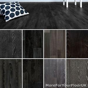 Black Wood Plank Vinyl Flooring Non Slip Vinyl Flooring