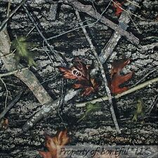 BonEful Fabric FQ Cotton Quilt Brown Gray Green Wood*Land Forest Tree Camo Leaf
