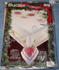 Bucilla POINSETTIA Tablecloth 60x 90 Stamped Cross Stitch Christmas Kit – Edged