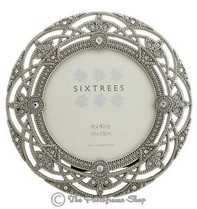 Ornate-Vintage-Silver-amp-Crystal-Round-4-034-Photo-frame-Helena-by-Sixtrees