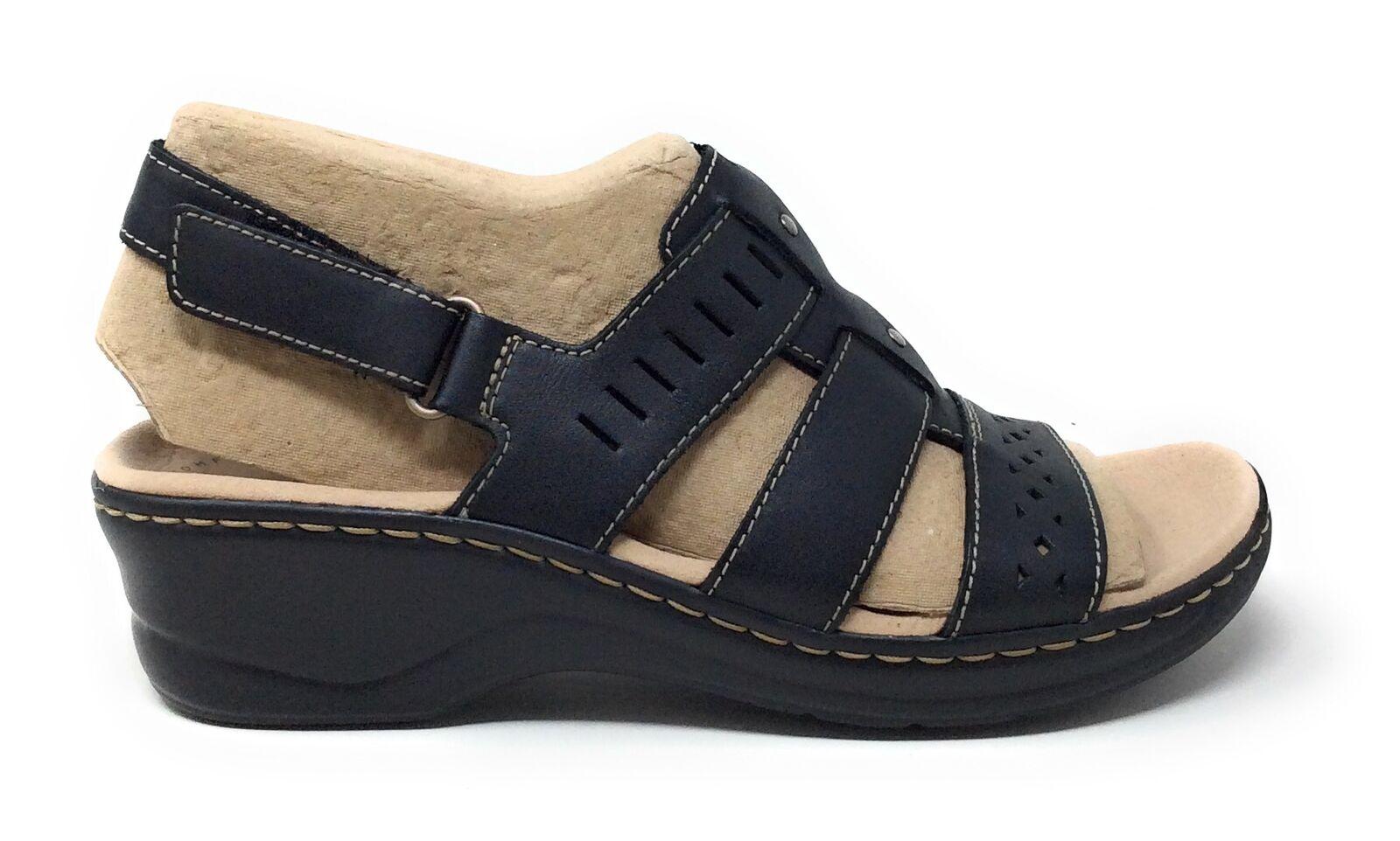 Clarks Collection Damen Lexi Qwin Ausschnitt Sandalen Schwarz Leder Größe 8 M US