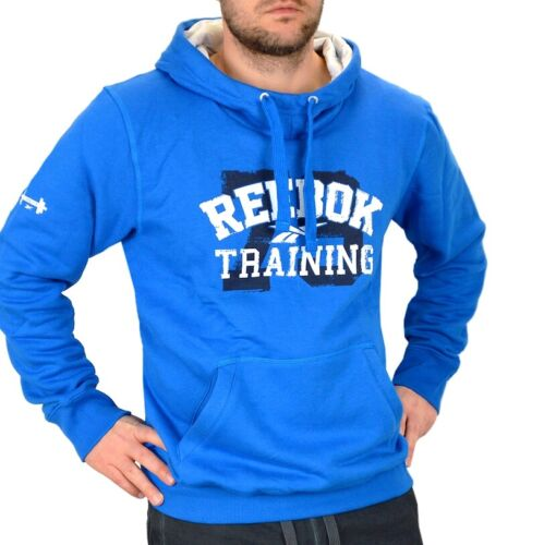 Reebok Herren Hoodie Kapuzen Pullover Sport Sweater Sweat Shirt Logo Men blau XL