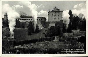 Baden-Baden-AK-1930-Ursprung-Thermalquelle-Florentinerberg-Neues-Schloss-Quelle