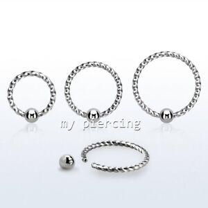 Mixed Items & Lots Provided 1pc 18g 0.6cm 0.8cm 1cm Retorcido Acero Quirúrgico Anillo Con Gema Pendientes Fashion Jewelry