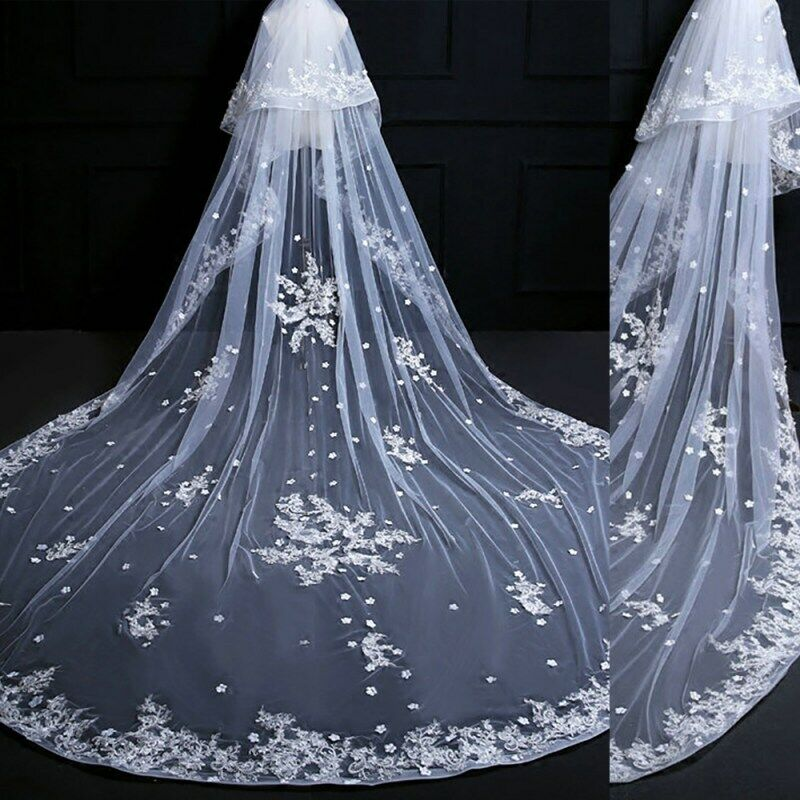 White Cathedral Long Bridal Veils Two Layer Lace Wedding Veil Bridal Accessories
