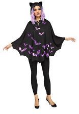 Bat Poncho Ladies Easy Quick Halloween Fancy Dress Costume Bats Poncho Adults