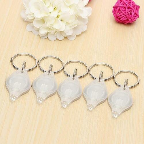 5 pcs Flashlight Keychains Mini LED White Light Torch Keyrings Flash Keys Chains