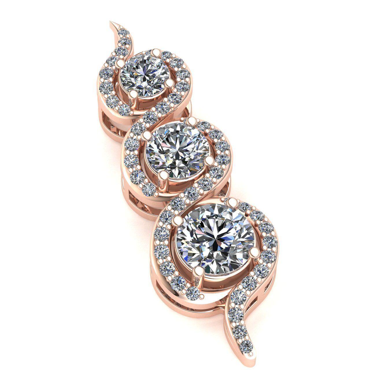 Genuine 1.5ctw Round Cut Diamond Ladies Dangle Three Stone Pendant 18K gold