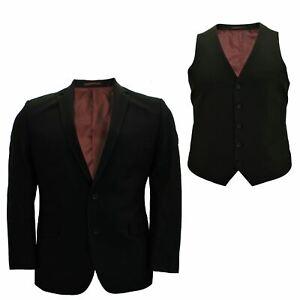 Para-Hombre-Tamano-Grande-Negro-Chaleco-Chaqueta-2-piezas-traje-se-vende-por-separado-50-52-54-56-58