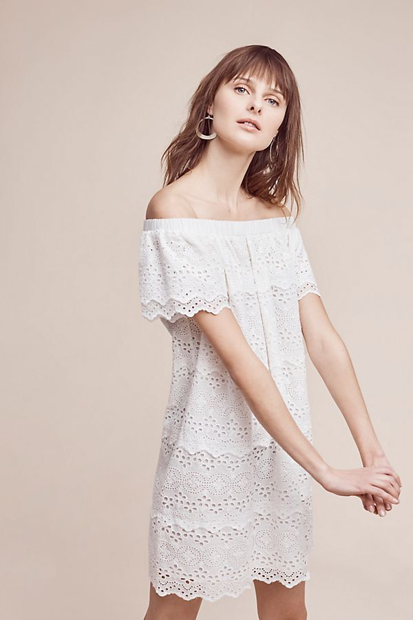 Anthropologie HD in Paris Women's White Eyelet Off-the-Shoulder Dress Size MP