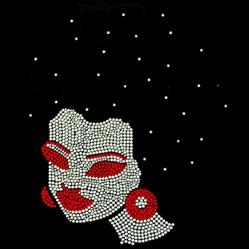 Afro Lady with Black Sparkle Hair /& Red Lips Rhinestone Iron on Transfer
