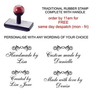 PERSONALISED HANDMADE BY RUBBER STAMP WITH YOUR NAME AND HEART SCROLL DESIGN
