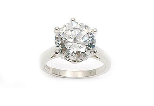 Bague Rhodié T60 Solitaire Gros Diamant Cz 11 mm Argent Massif 925 Dolly-Bijoux