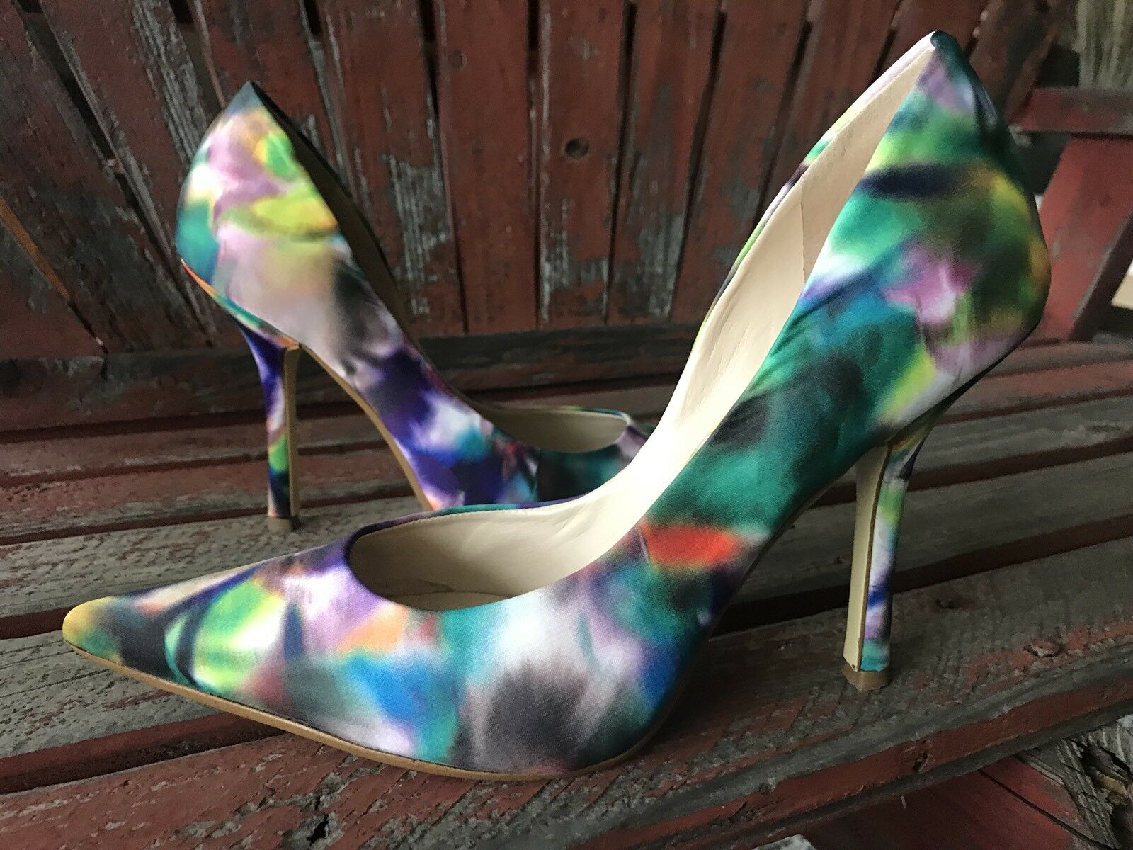 Multicolor PRinT 7.5 Satin Pointy Toe CARRIE Stiletto Heels PUMP GuESS rainbow