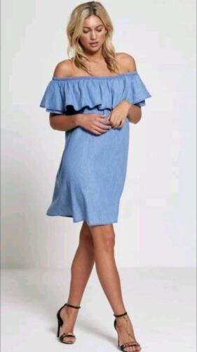 Womens Ladies Sleeveless Frill Ruffle Off The Shoulder Bardot Denim Midi Dress