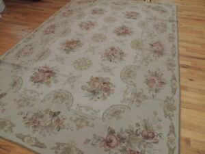 6x9 French Aubusson Needlepoint Floral Area Rug Hand Knotted Wool Beige Rose Ebay