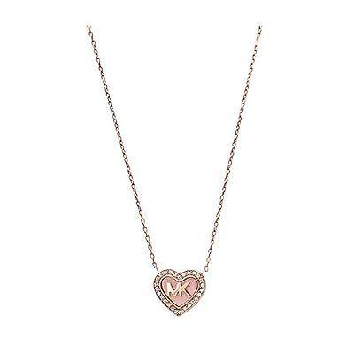 MICHAEL KORS Rose Gold-tone MK Logo Heart Pendant Necklace 796483217003    eBay