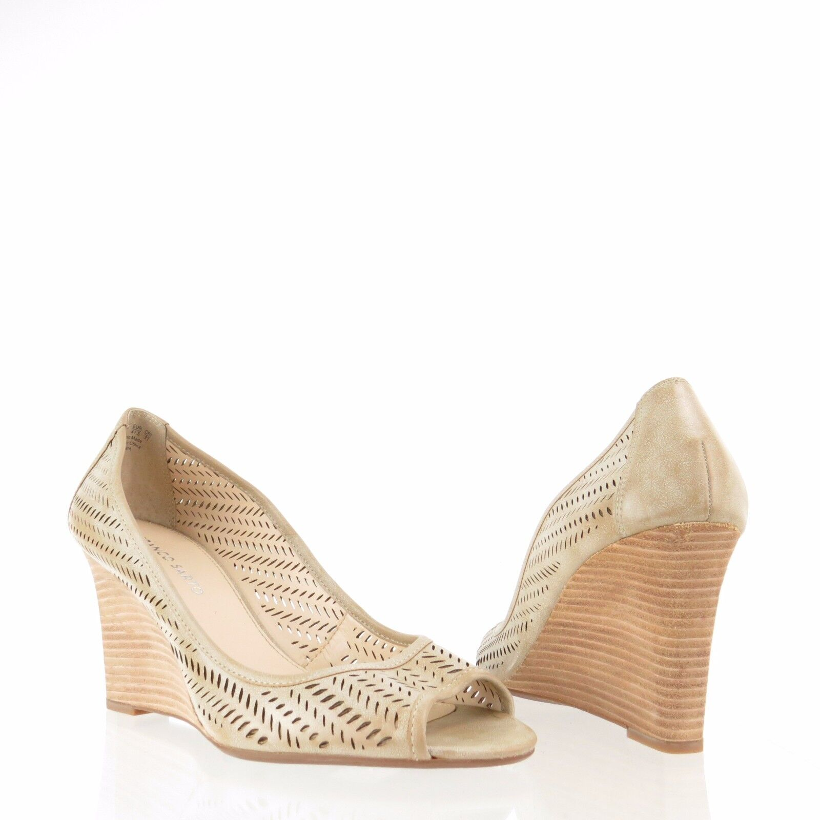 Women's Franco Sarto Jania shoes Beige Perforated Synthetic Wedges Size 10 M NEW