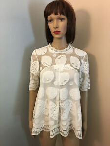 HD-IN-PARIS-ANTHROPOLOGIE-Sz-6-S-Ivory-All-LACE-Lemon-BLOUSE-TOP-Elbow-Sleeve
