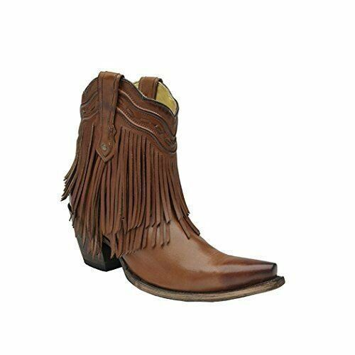 CORRAL Women's Fringe and Whip Stitch Short Boot Snip Toe - G1206