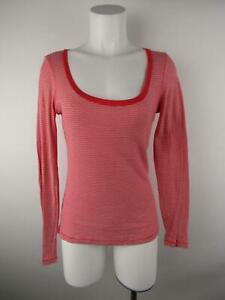 Old Navy Women sz M Red Cotton Scoop Neck Striped Stretch ...