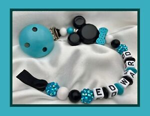 personnalise-Dummy-Clip-max-7-lettres-Mickey-n-ud-papillon-Turquoise-Sparkle