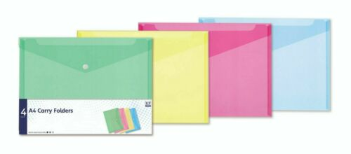 4 Assorted Pastel Colour A4 Document Wallets Plastic Carry Folder Pink Aqua NEW