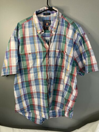 Vtg 80s 90s Chaps Ralph Lauren Mens XL Short Slee… - image 1
