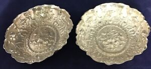 Antique-1900s-STERLING-SILVER-Candy-Bowls-Pair-Of-Two