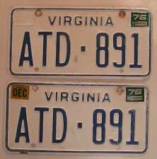 Virginia 1975 License Plate PAIR # ATD-891