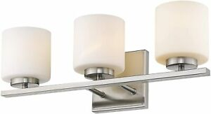 Delta 5 Light Satin Nickel With Frosted White Glass Vanity LED Bath Wall $354