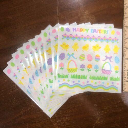 10 Mrs Grossmans Happy Easter Stickers Spring Chick Eggs Rabbit Grass Basket