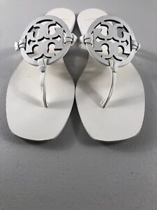 Tory Burch Miller Square Toe Sandals Flip Flops Off White Leather Size 9 5 Ebay