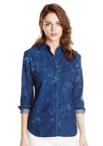 NWT-S-Small-AG-Adriano-Goldschmied-Windswept-Floral-Denim-Finch-Button-Down-Top