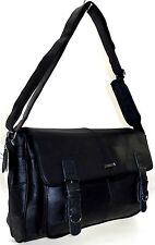 LARGE LORENZ COWHIDE REAL LEATHER SHOULDER SATCHEL SCHOOL MESSENGER BAG BLACK